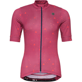Triple2 Velozip Recycled Poly Jersey Korte Mouwen Dames, beet red